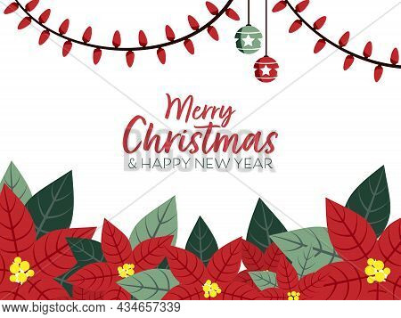 Christmas Holiday Season Banner Of Merry Christmas And A Happy New Year Text With Christmas Winter P