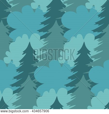 Blue Forest Seamless Pattern, Dense Pine Forest And Deciduous Trees, Vector Illustration