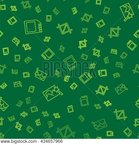 Set Line Sd Card, Photo Retouching And Picture Crop Photo On Seamless Pattern. Vector
