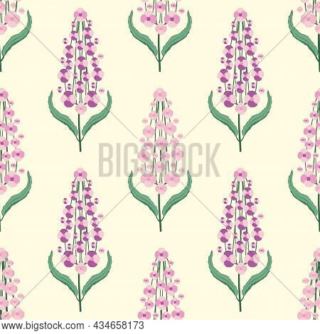 Buddleia Seamless Vector Pattern Background. Known As Summer Lilac. Hand Drawn Clusters Of Pink Purp