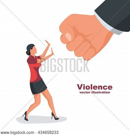 Violence In Family. Man In A Fist Threatens A Woman. Stop Violence Against Women. Big Fist Threatens