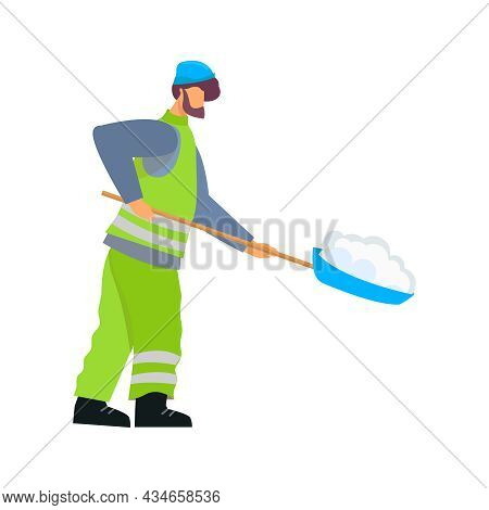 Caretaker Cleaning Streets From Snow Flat Vector Illustration