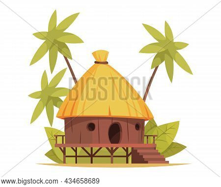 Cartoon Thatched Bungalow In Tropical Country Vector Illustration