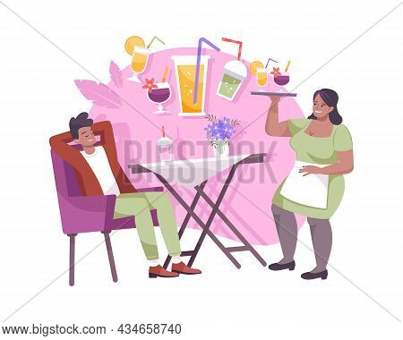 Man Ordering Cool Drinks At Cafe And Waiter Holding Tray With Cold Cocktails Flat Composition Vector