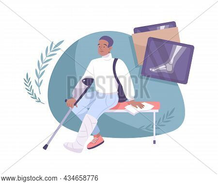 Flat Fracture Composition Man With Plaster Cast On Broken Leg And Xray Pictures Vector Illustration