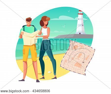 Flat Composition With People Going On Pirate Treasure Hunt On Sea Coast Vector Illustration