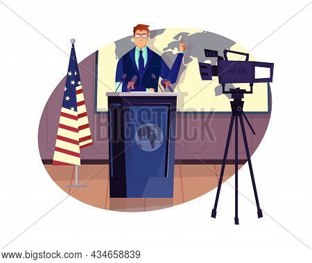Speaking Politician Being Filmed With Camera Flat Composition Vector Illustration