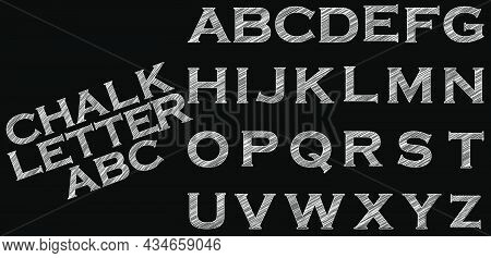 Chalk Sketched Striped Alphabet Abc Vector Font. Type Letters,characters And Punctuation Marks
