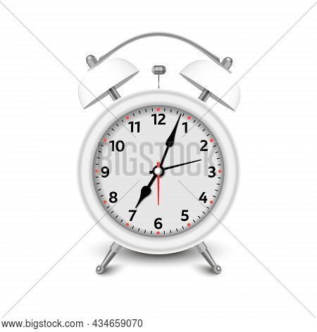 Alarm Clock. 3d Illustration Isolated On White Background. White Alarm Clock Set At One Close-up. Ve