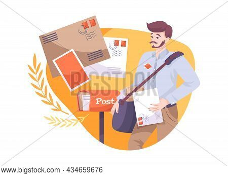 Flat Composition With Male Postman And Letters In Envelopes Vector Illustration