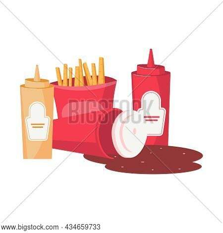 Junk Food Flat Composition With French Fries Bottle Of Ketchup Mustard And Spilled Coke Vector Illus