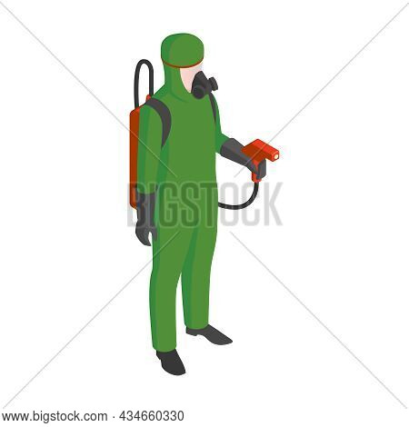 Isometric Pest Control Service Specialist With Professional Equipment Vector Illustration
