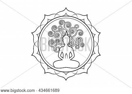 Visakha Puja Day, Buddha Statue And Bodhi Tree In Sacred Lotus Logo Template. Sacred Tree, Ficus Rel