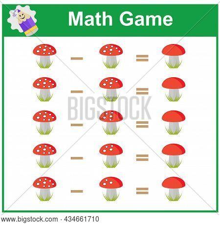 Mathematics Educational Game For Little Children. Printable Worksheet For Kids Math School Textbook.