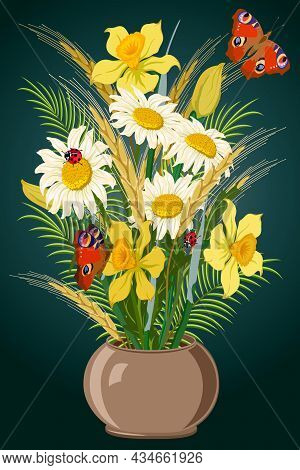 A Bouquet Of Flowers In A Vase.bouquet Of Flowers And Ears Of Corn In A Vase On A Colored Background