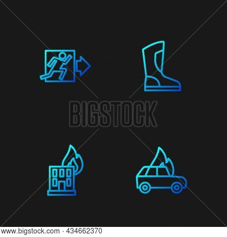 Set Line Burning Car, Fire Burning Building, Exit And Boots. Gradient Color Icons. Vector