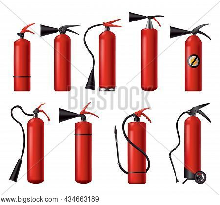 Red Fire Extinguishers Set. Isolated Portable Fire-fighting Units Of Different Shape. Firefighters T