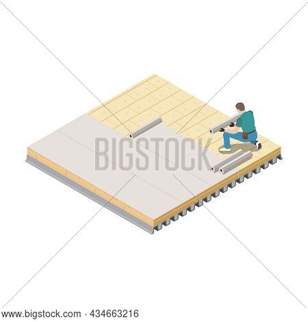 Isometric Icon With Roofer At Work On White Background 3d Vector Illustration