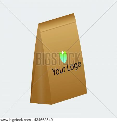 Craft Paper Bag Packaging Template Isolated On Grey Background. Brown Packaging Template Mockup. Sta