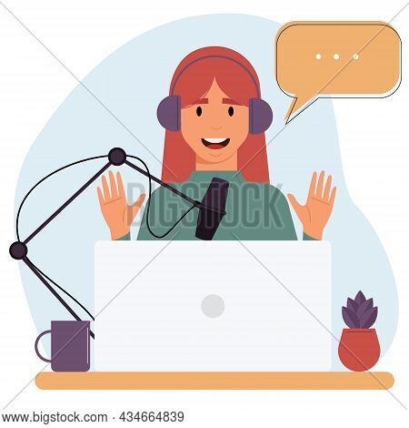 Cartoon Smiling Woman Is Recording An Audio Podcast.interview, Podcast, Online Show.concept Of Onlin