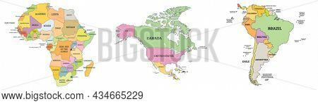 Political Map of Africa, North America and South America. Map with Name of Countries Isolated on White.