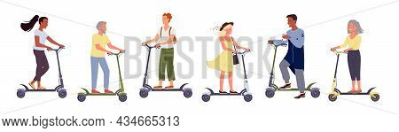People On Electric Scooter Set, Alternative Eco City Transport Vector Illustration. Cartoon Man Woma