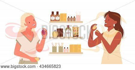 Girls Choose Fashion Perfume On Shopping Vector Illustration. Cartoon Young Female Characters Apply