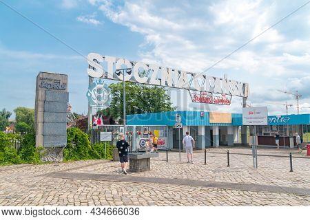 Gdansk, Poland - July 9, 2021: Historical Gate Of Gdansk Shipyard, Large Polish Shipyard.