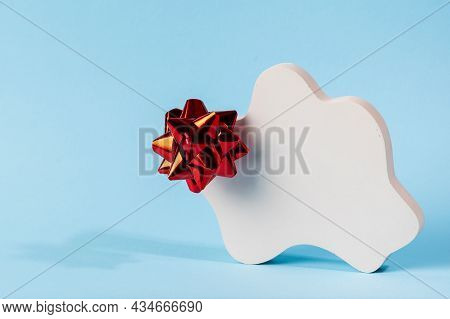 Christmas Mock Up With White Podium On Blue Background With Christmas Decor. Place For Christmas Pro