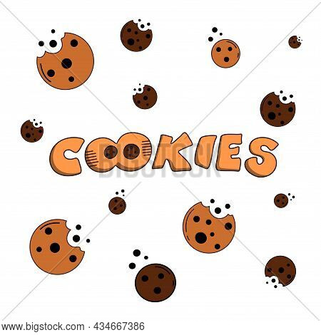 Cookies Illustration With A Logo, Kids Cartoon Style Pattern, Cookies With The Chocolate Chip, Hand