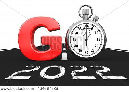 New 2022 Year Concept. Stopwatch As Go Sign Over 2022 New Year Road On A White Background. 3d Render