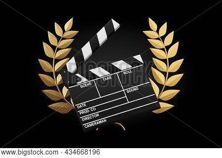 Cinema Award Concept. Movie Slate Clapper Board With Gold Laurel Wreath Winner Award On A Black Back