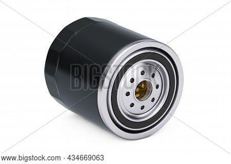 New Car Oil Filter In A Black Housing On A White Background. 3d Rendering