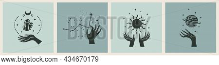 Vector Set Of Magic Cards With Mystery Illustrations. Magical Cards.