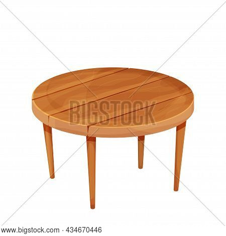Wooden Round Rustic Table In Cartoon Style Isolated On White Background. Textured Furniture, Small C