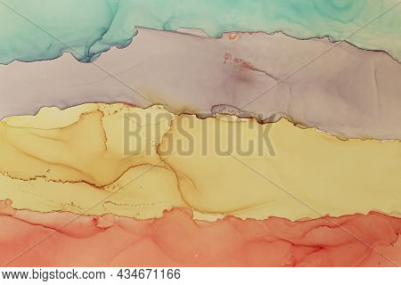 Abstract Hand Painted Alcohol Ink Texture. Colors Stripes Creative Background For Your Design