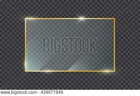 Golden Frame With Glass On Transparent Background. Gold Shiny Frame. Luxury Realistic Rectangle Bord