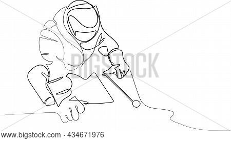 Welder Mounts In The Trunk Pipeline Electrochemical Protection Vector Illustration. Young Man Welder
