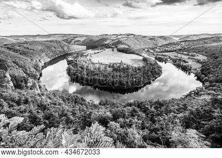 Vltava River Horseshoe Bend Near Solenice, Czech: Solenicka Podkova, Czech Republic. Black And White