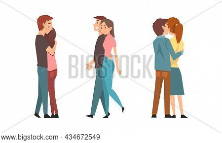 Young Male And Female Couple Embracing Feeling Love And Affection Vector Set