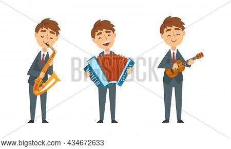Young Man In Suit And Tie Playing Musical Instrument Performing Concert On Stage Vector Set