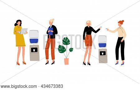 Woman Office Worker Standing Near Water Dispenser And Discussing Business Vector Set