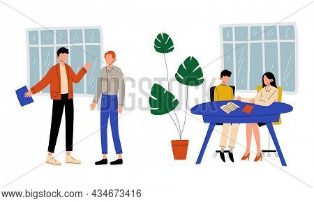 Man And Woman Office Worker Sitting At Desk And Discussing Business Vector Set