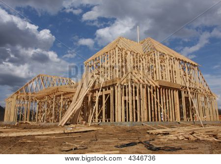 Two Story Home Under Construction Full Shot