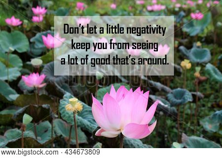 Inspirational Quote - Don't Let A Little Negativity Keep You From Seeing A Lot Of Good That's Around