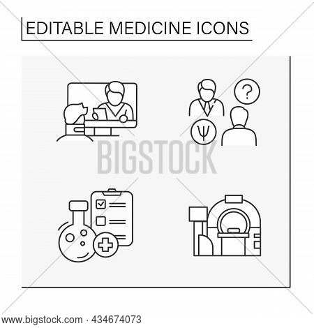 Medicine Line Icons Set. Clinical Trials, Consultation With Doctor, Mri. Healthcare Concept.isolated