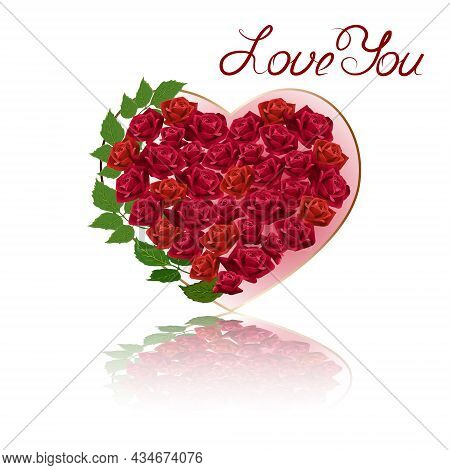Vector Illustration With A Heart Of Roses.heart Of Roses With Reflection In Color Vector Illustratio