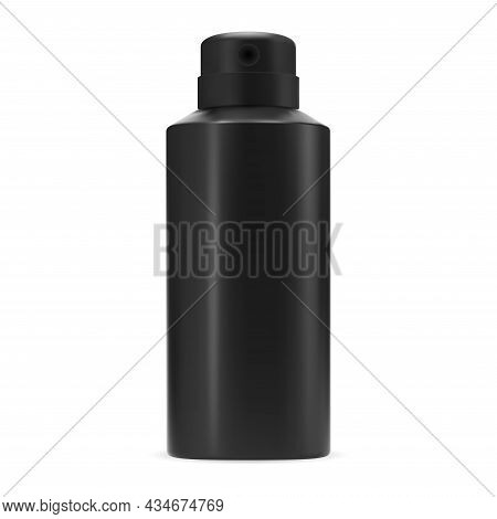 Black Deodorant Spray Bottle Isolated Vector Blank. Aluminum Antiperspirant Can Template. Aerosol Sp