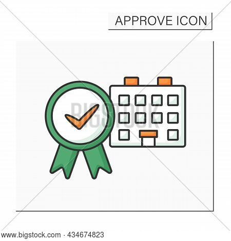 Approved House Color Icon. Examined And Certificated Residence. Approved Living Place, Comfortable C