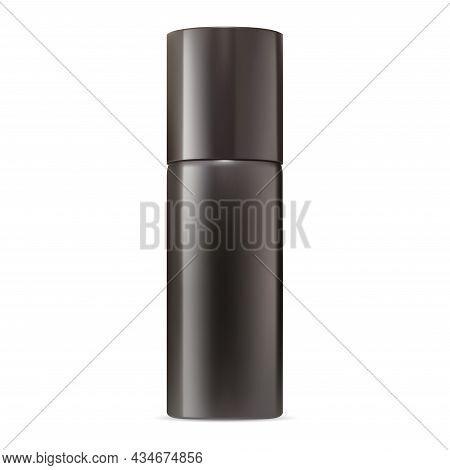 Deodorant Spray Mockup. Aluminum Aerosol Bottle Blank. Metal Air Freshener Container, Realistic Pack